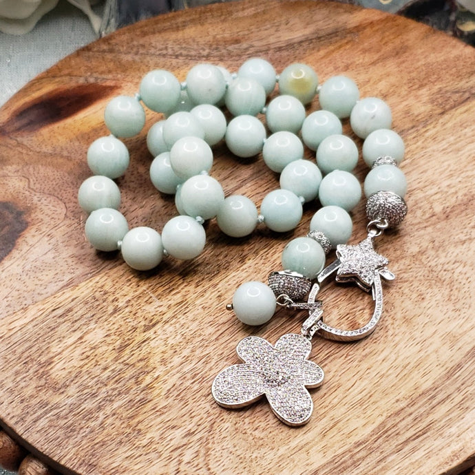 Amazonite Hand Knotted Necklace with Pave Flower and Clasp