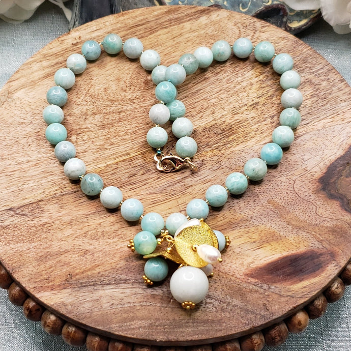 Amazonite Hand Knotted Necklace Pearls and Gold Spacers
