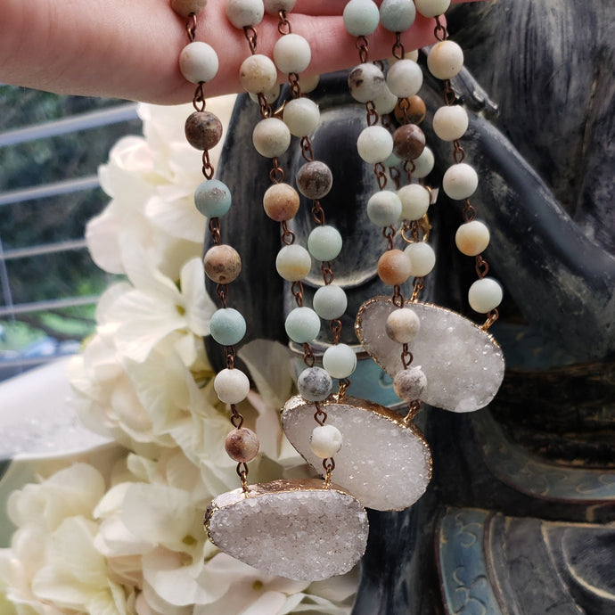 Amazonite Chain Necklace with a Druzy Focal Bead