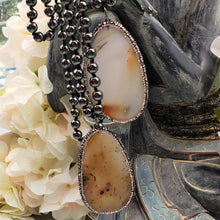 Load image into Gallery viewer, Hematite Necklace with Pave Encrusted Agate Slice Pendant.