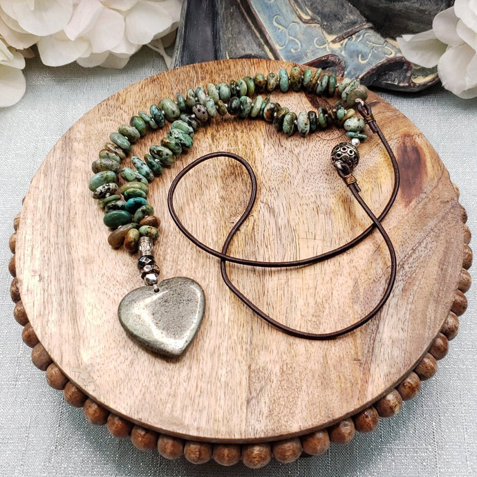 African Turquoise and Pyrite Heart Necklace