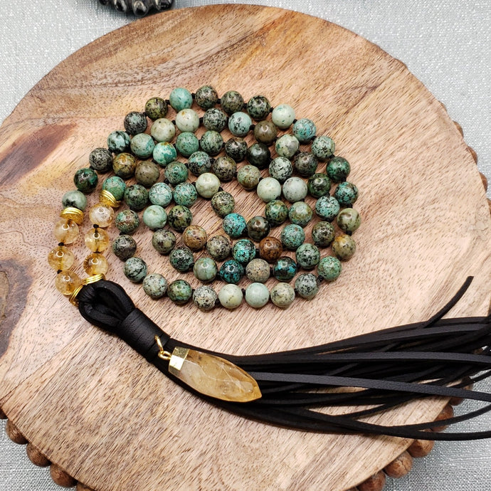 African Turquoise Beaded Necklace with Citrine.