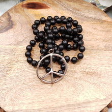 Load image into Gallery viewer, Black Onyx, Peace Sign Necklace