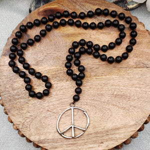 Black Onyx, Peace Sign Necklace