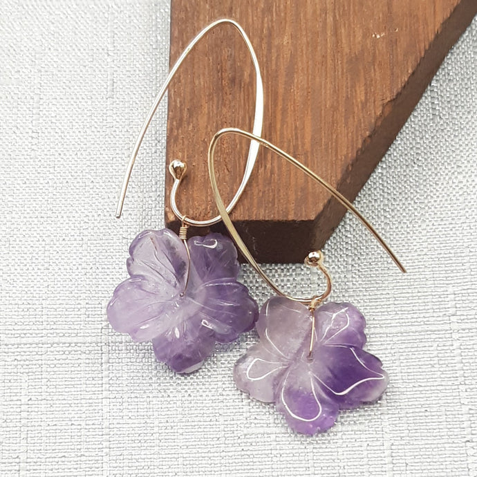 Amethyst Flower Hanging Earrings