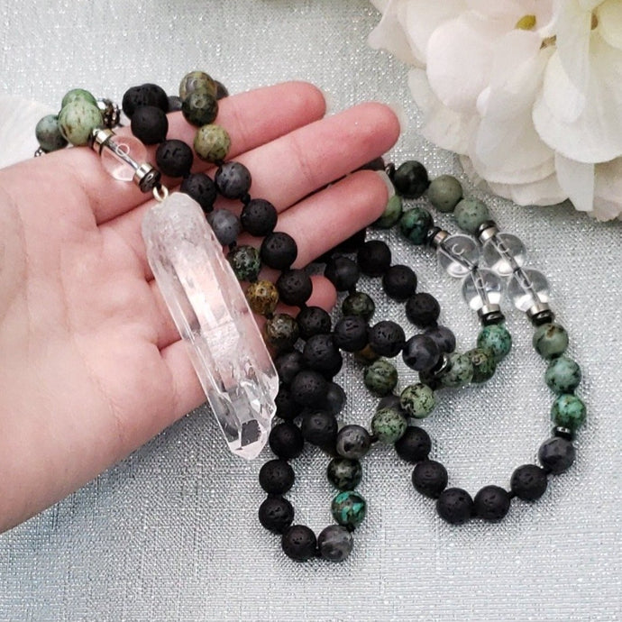 Black Lava Mala with African Turquoise, Hematite and Clear Quartz