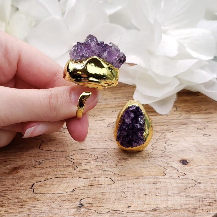 Funky Amethyst Cluster Ring - Adjustable