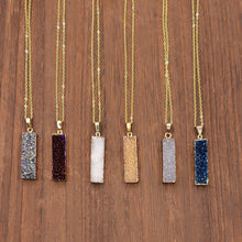 Load image into Gallery viewer, Druzy Rectangular Necklace