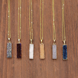 Druzy Rectangular Necklace