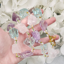 Load image into Gallery viewer, Amethyst, Rose and Blue Quartz Chunky Choker