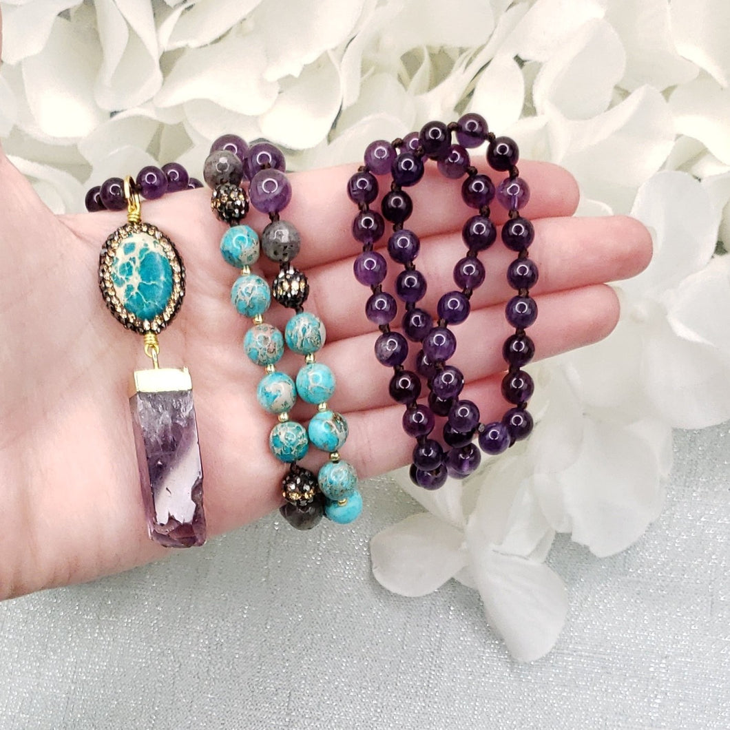 Amethyst and Sea Sediment Jasper Mala