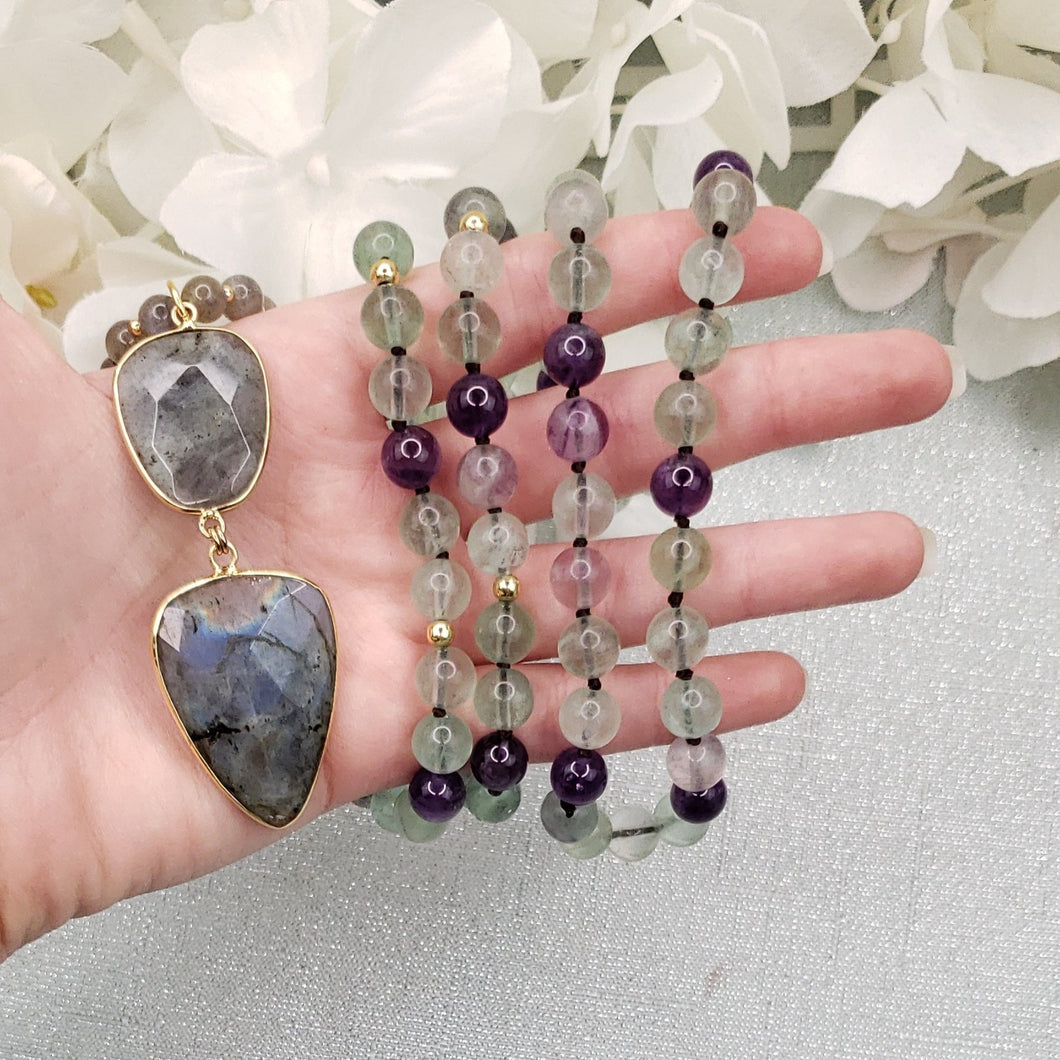 Fluorite and Labradorite Necklace with Fluorite Labradorite Pendant