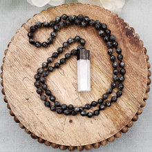 Load image into Gallery viewer, Black Labradorite Necklace with Selenite Pendant