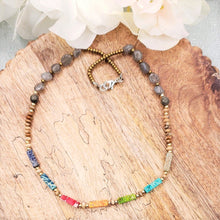 Load image into Gallery viewer, Boho Choker with mixed Beads and Labradorite Beads