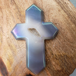 Druzy Aura Agate Cross
