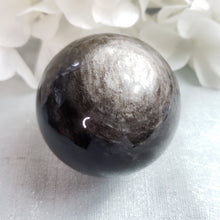 Load image into Gallery viewer, Silver Sheen Obsidian Sphere - E