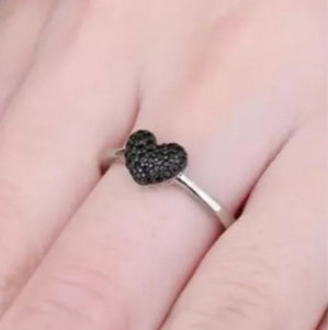 Black Spinel Heart Shaped Ring
