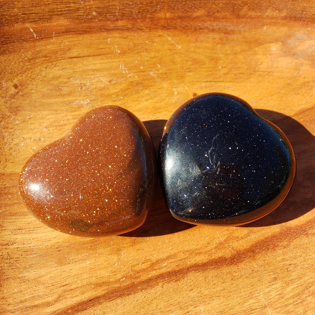 Goldstone Or Bluestone 45mm Puffed Heart