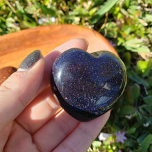 Load image into Gallery viewer, Goldstone Or Bluestone 45mm Puffed Heart