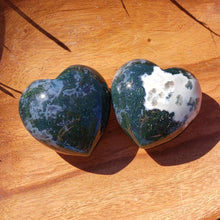 Load image into Gallery viewer, Green Moss Agate 45mm Puffed Heart