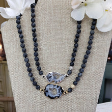 Load image into Gallery viewer, Agate Geode Black Labradorite Necklace