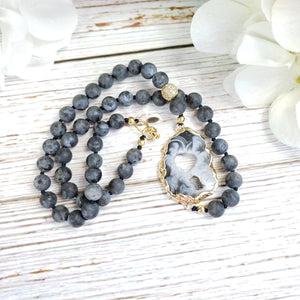 Agate Geode Black Labradorite Necklace