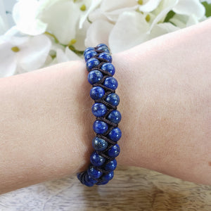 Lapis Lazuli Small Double Strand Adjustable Bracelet