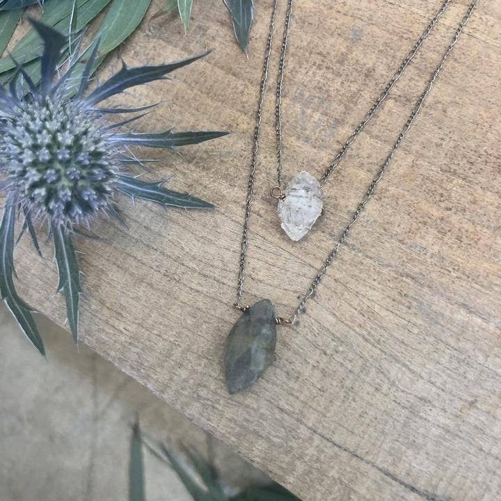 Herkimer Diamond with Labrodite Double Strand Necklace