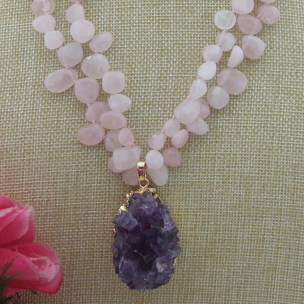 Amethyst Cluster on Double Rose Quartz Necklace