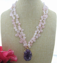 Load image into Gallery viewer, Amethyst Cluster on Double Rose Quartz Necklace