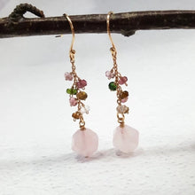 Load image into Gallery viewer, Rose Quartz and Tourmaline Earrings