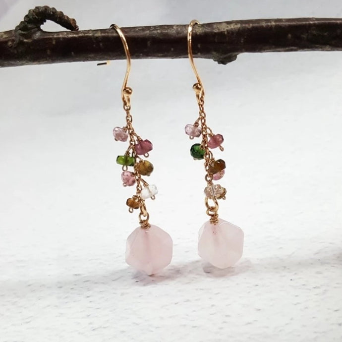 Rose Quartz and Tourmaline Earrings