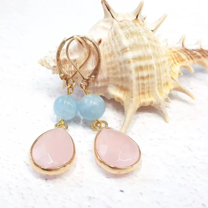 Rose Quartz and Aquamarine Earrings
