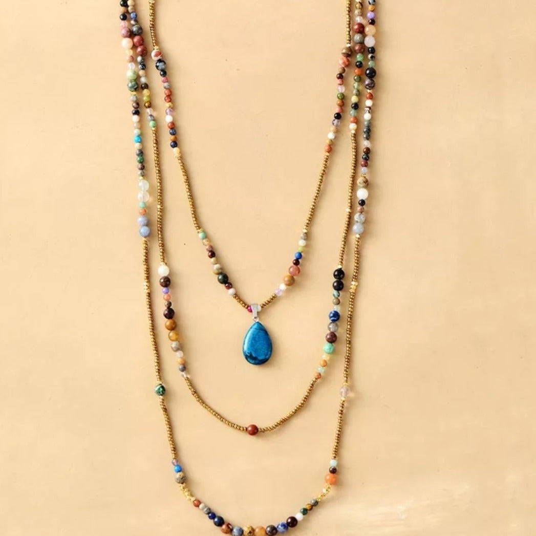 Multi - Layer Bohemian Necklace with an Apatite Pendant