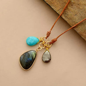 Labradorite, Amazonite  & Pyrite Leather Boho Necklace