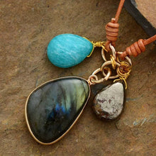 Load image into Gallery viewer, Labradorite, Amazonite  & Pyrite Leather Boho Necklace