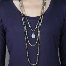 Load image into Gallery viewer, Multi - Layer Bohemian Necklace with an Apatite Pendant