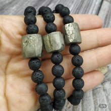 Load image into Gallery viewer, Black Lava with Pyrite Adjustable Bracelet