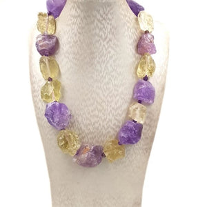Amethyst and Lemon Quartz Chunky Choker