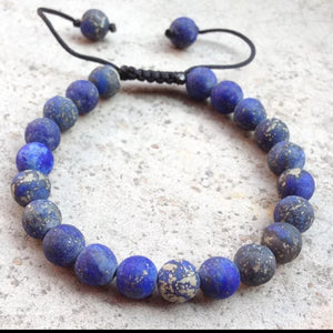 Lapis Lazuli Raw Beaded Adjustable Bracelet