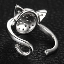 Load image into Gallery viewer, Black Spinel Adjustable Cat Face Ring