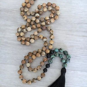 Picture Jasper Mala with Black Onyx and African Turquoise