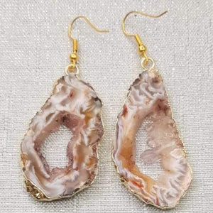 Druzy Agate Slice Earrings - 3