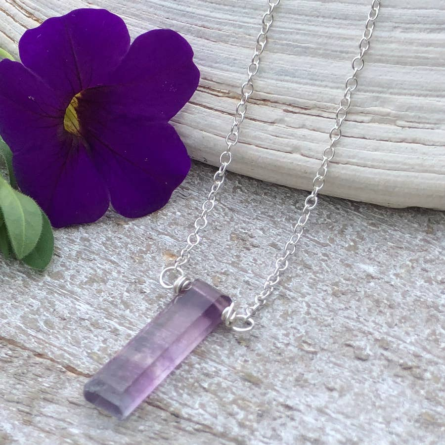 Fluorite Necklace with a Sterling Silver Adjustable Chain