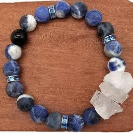 Sodalite Healing Bracelet with Clear Quartz and Black Onyx