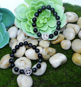 Rainbow Obsidian Peace Love & Light Bracelet