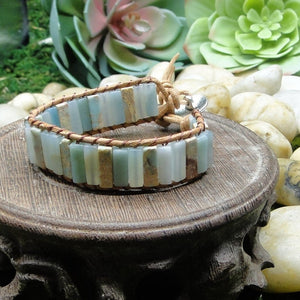 Amazonite Stone Leather Energy Bracelet