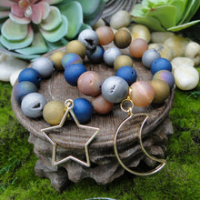 Load image into Gallery viewer, Druzy Agate Balancing Bracelet with Moon or Star Dangle