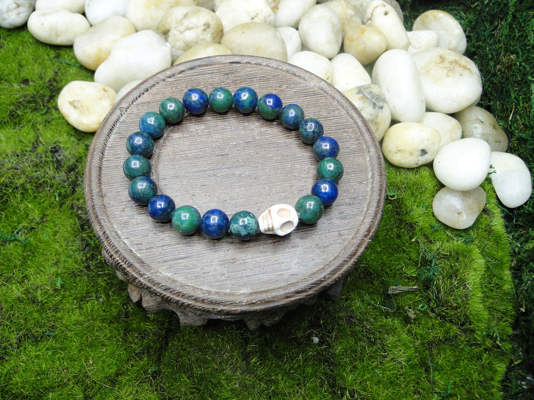 Chrysocolla Smooth Beads with Howlite Skull