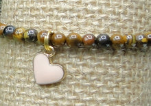 Load image into Gallery viewer, Tiger's Eye Delicate Bracelet with Pink Enamel Hearts